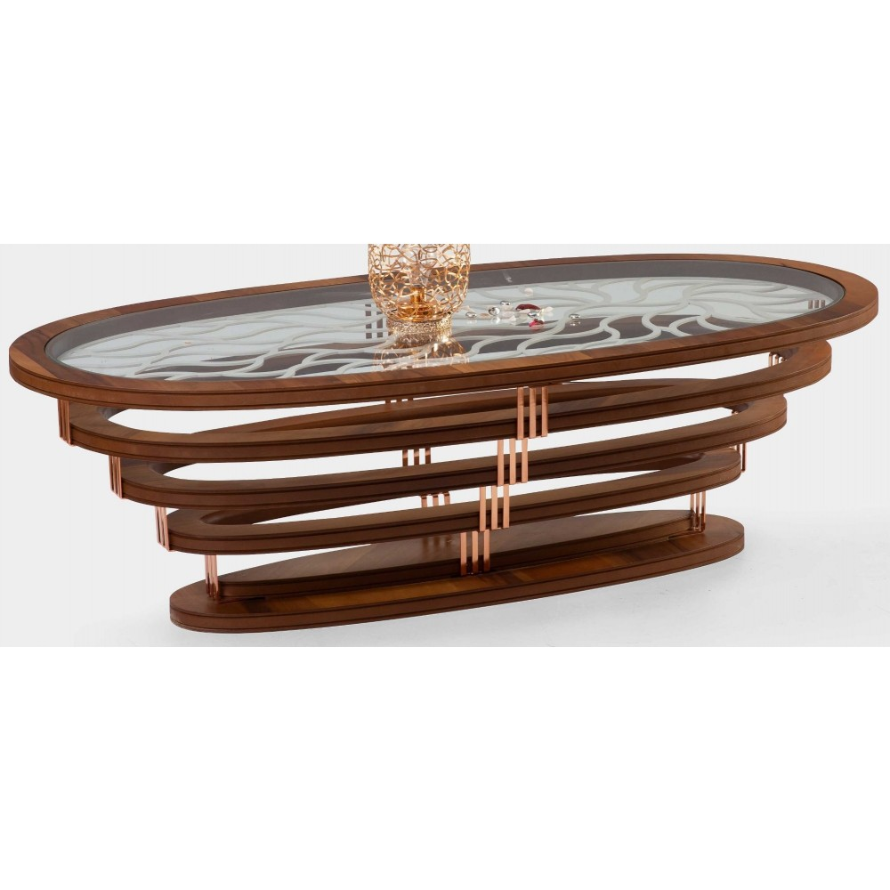 Oval accordion pedestal table G-156