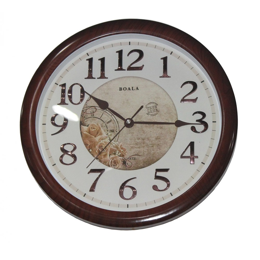Brown wall clock PE-T2805T-2