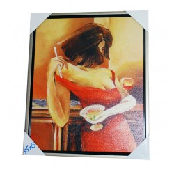 Decorative wall painting (drinking lady)