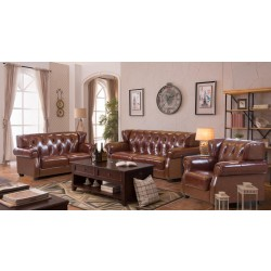 Brown leather sofa set-LONDON/7P